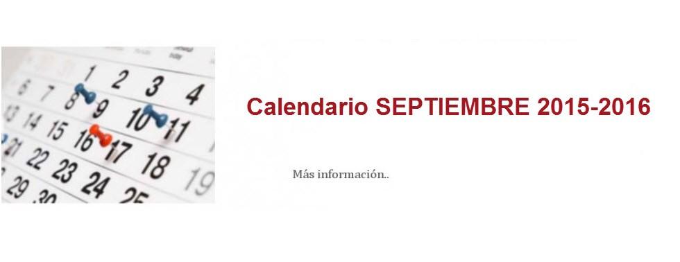 Calendario SEPTIEMBRE 2015-2016