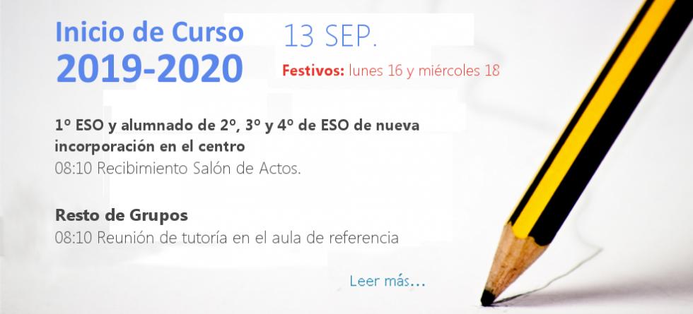 Inicio curso 2019-2020